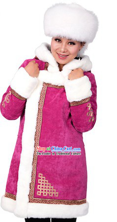 Traditional Chinese Winter Mongolian Clothes for Women