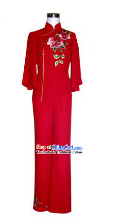 Chinese Classical Red Embroidered Flower Wedding Toasting Outfit