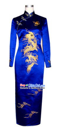 Chinese Classical Blue Phoenix Embroidery Long Cheongsam