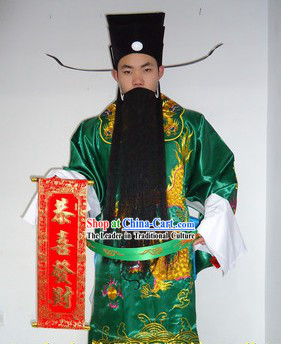 Traditional Chinese Stage Performance Cai Shen Ye Green Costumes and Hat Complete Set