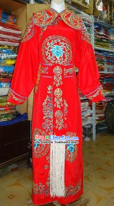 Chinese Beijing Opera Tuan Hua Embroidered Jian Yi Jacket and Robe for Men