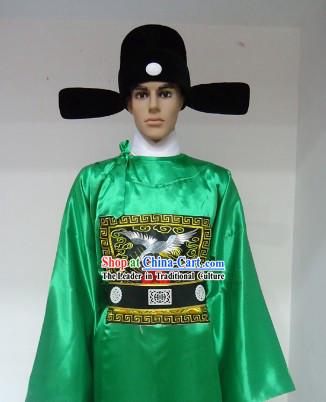 Ancient Chinese Ming Dynasty Official Robe and Hat for Men