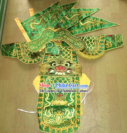 Traditional Chinese Embroidered Dragon Armor Da Kao Costume Complete Set for Children