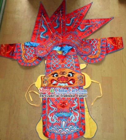 Traditional Chinese Embroidered Dragon Armor Da Kao Costume Complete Set for Girls