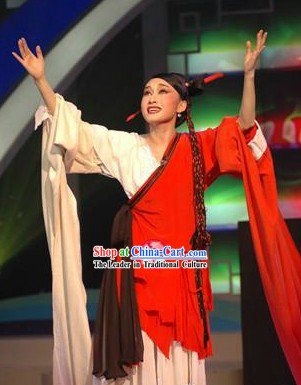 White and Red Long Water Sleeves Beijing Opera Costumes for Women