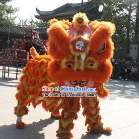 Orange Color Long Wool Folk Lion Dance Costume Complete Set