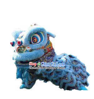 Top Quality Light Blue Hok San Southern Lion Dance Costumes Complete Set