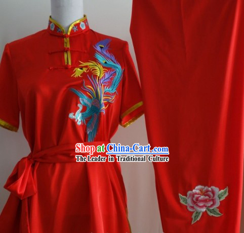 Short Sleeves Silk Broadcloth Embroidered Phoenix Mulan Uniform