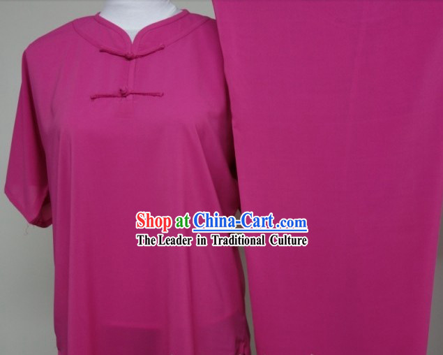 Round Collar One Color Silk Blouse Pants and Belt Martial Arts Clothes Complete Set