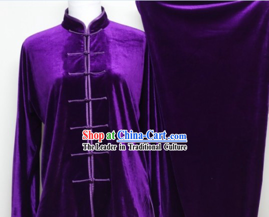 Purple Winter Pleuche Tai Chi Uniform Male Female Kung Fu