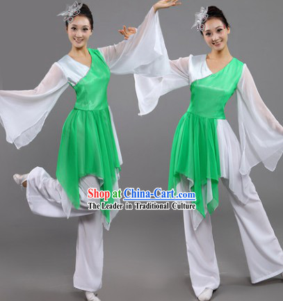 Fan Dance Group Dance Hanfu Costumes and Headwear Complete Set for Women