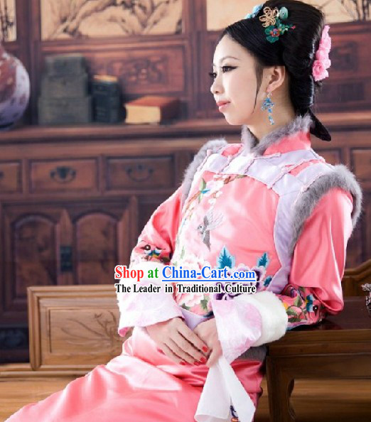 Qing Dynasty Princess Clothes and Hair Accessories Complete Set