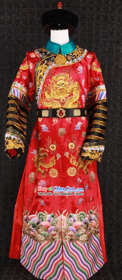 Traditional Chinese Bridegroom Imperial Royal Wedding Costumes and Hat for Men