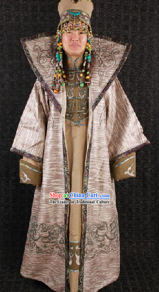 Traditional Chinese Ancient Mongolian Princess Crown and Clothing Complete Set for Women