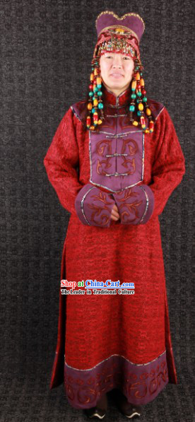 Traditional Mongolian Queen Dresses Long Robe and Hat for Women