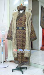 Ancient Chinese School Master Costumes and Hat Complete Set for Men