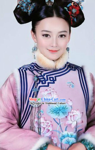 Qing Dynasty Princess Costumes and Hair Accessories Complete Set for Women