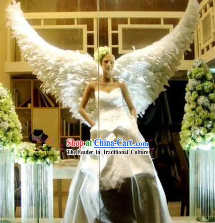 Handmade Pure White Feather Angel Wings Dance Performance Prop
