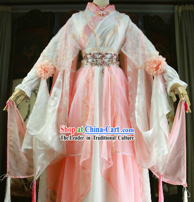 Ancient Chinese Princess Pink Cosplay Costumes and Hair Accessories Complete Set