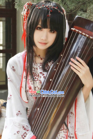 Traditional Koto Player Costumes and Hair Accessories Complete Set