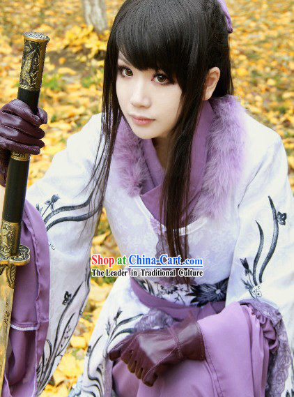 Chinese Classic Swordswoman Costumes and Hair Accessories Complete Set