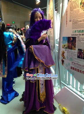 Ancient Chinese Purple Princess Costumes and Accessories Complete Set