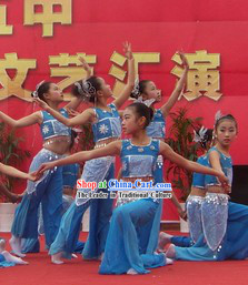 Traditional Chinese Blue Dance Costumes Complete Set