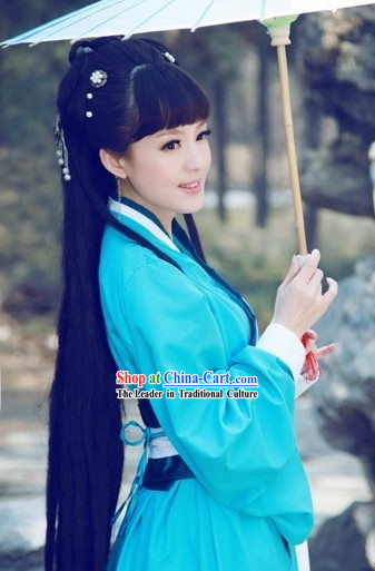 Ancient Chinese Blue Hanfu Outfit