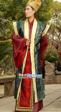 Ancient Chinese Government Official Outfits and Hat Complete Set for Men