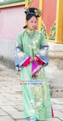 Qing Dynasty Imperial Princess Outfit and Headwear Complete Set