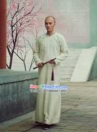 Qing Dynasty Male White Long Robe