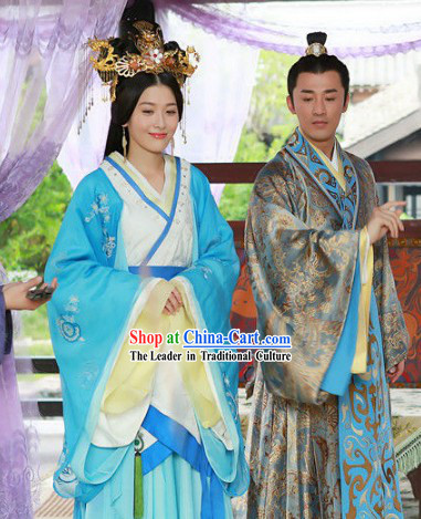 Chinese Han Clothing Husband and White Royal Palace Dresses and Hair Accessories Complete Set