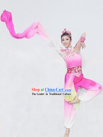Traditional Chinese Ta Mei Plum Blossom Dance Costumes and Headwear Complete Set