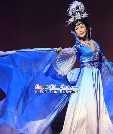 Li Yugang Style Opera Performance Dance Costume Dancewear and Hair Accessories Complete Set