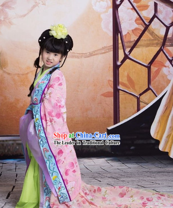 China Imperial Princess Long Tail Hanfu Wedding Garment for Kids