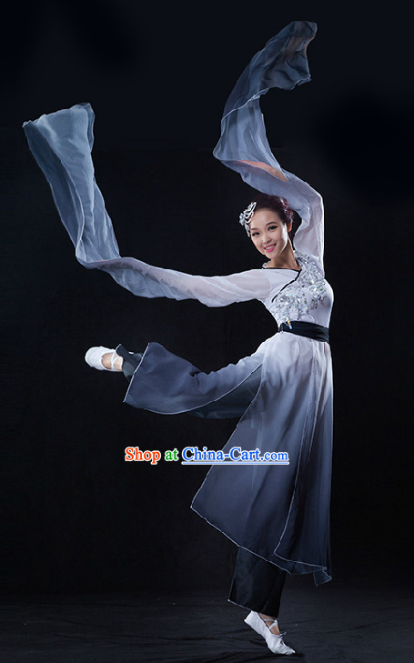 Color Transition Chinese Brush Drawing Dancing Costumes with Long Sleeves