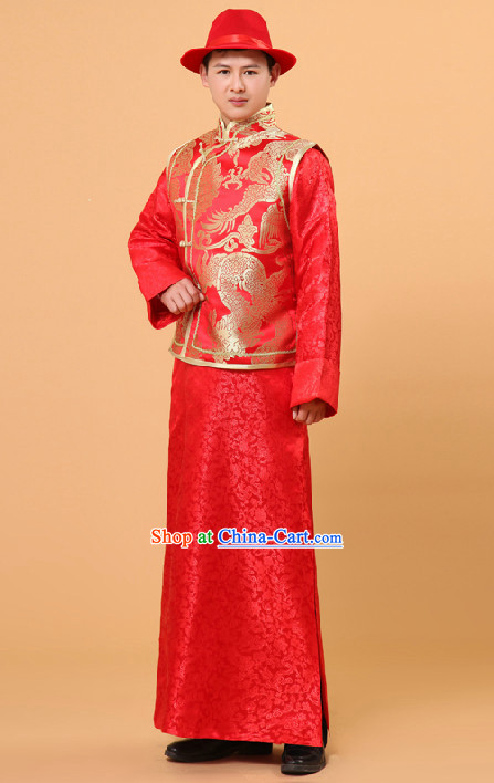 1aef530f43d19 Traditional Chinese Wedding Ceremony Banquet Dresses and Hat for Bridegroom