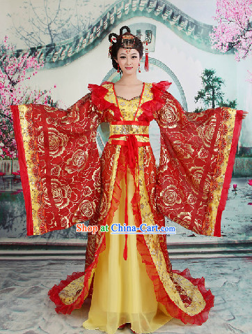 Ancient Chinese Imperial Palace Empress Clothes with Long Tail