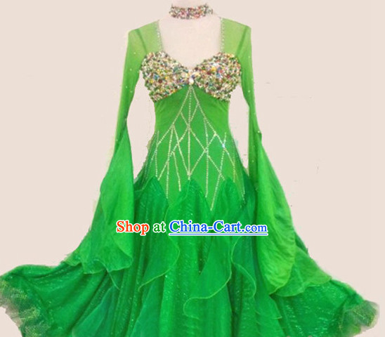Top Tailored Made Green Waltz Dance Long Skirt