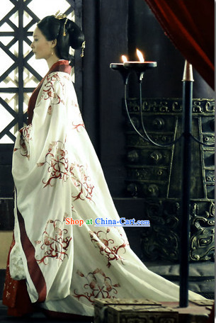 Kuei Ku-tzu Wiser Drama Ancient Chinese Imperial Palace Empress Suit Full Set with Long Trail