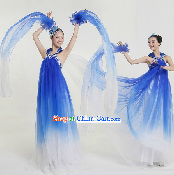 Top Custom Make Stage Performance Blue Ribbon Dancing Costumes and Headdress