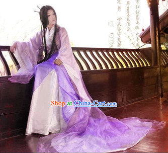 Purple Ancient Chinese Empress Clothes and Headdress Complete Set