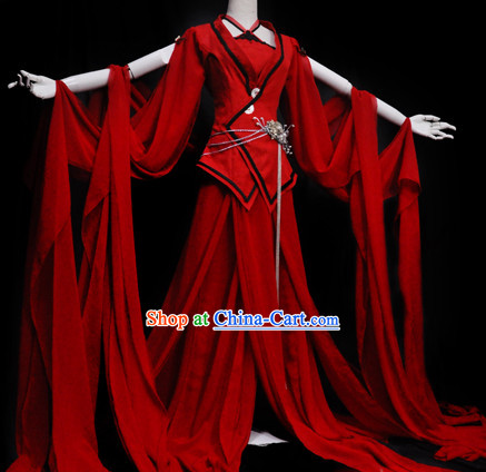 Ancient Chinese Red Princess Wide Sleeves Hanfu Clothes and Accessories Complete Set