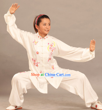 Long Sleeves White Silk Martial Arts Competition Clothes