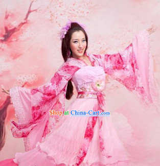 Ancient Chinese Peach Princess Clothes and Hair Accessories Complete Set