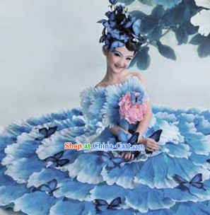 Top Petal Dancing Costumes and Headwear Complete Set for Kids