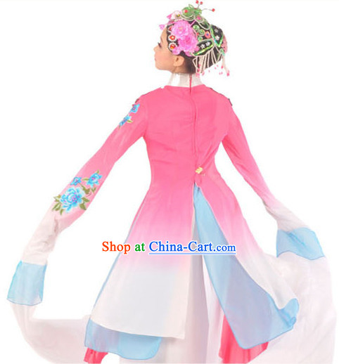 Traditional Chinese Opera Style Water Sleeve Dance Costumes and Headwear Complete Set