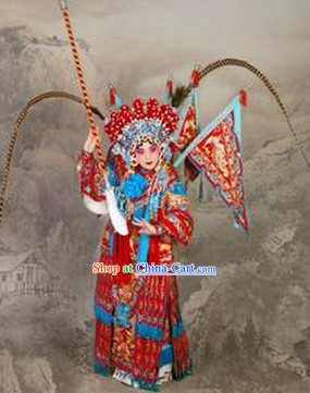 Traditional Chinese Beijing Opera Mu Guiying Costumes and Helmet for Kids