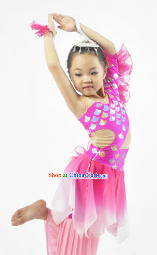 Professional Stage Performance Fish Dancing Costumes and Headwear for Children