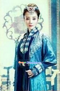 Gu Jian Qi Tan Lengend of the Ancient Sword TV Drama Blue Swordwoman Costumes Complete Set